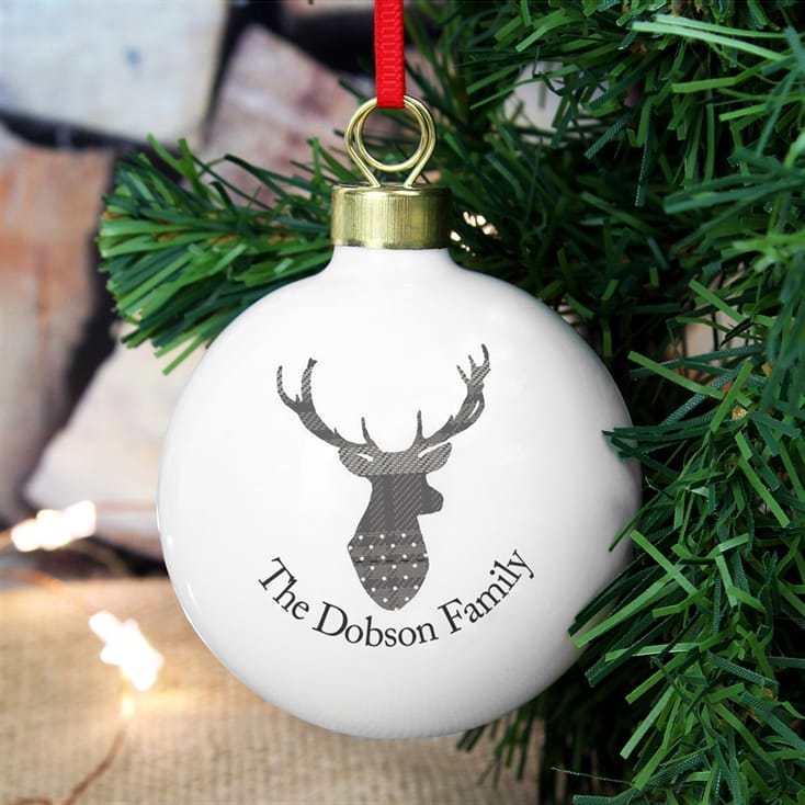 Personalised Highland Stag Tree Bauble