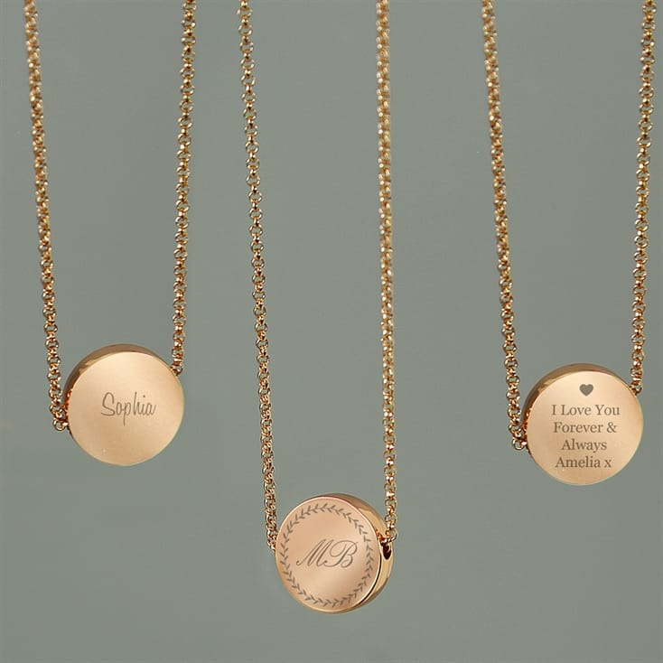Personalised Rose Gold Disc Necklace