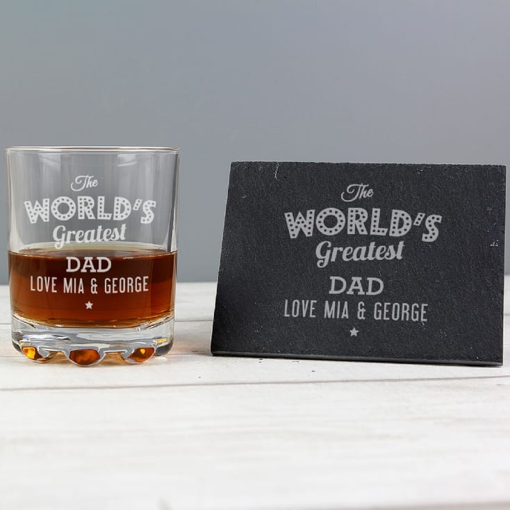 Personalised The Worlds Greatest Whisky Tumbler & Slate Coaster Set