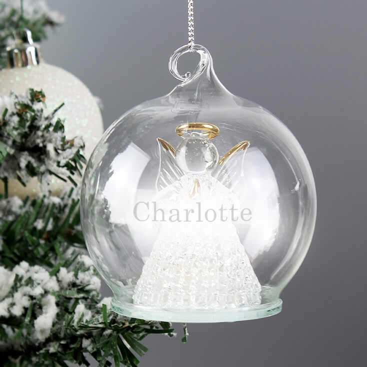 Personalised LED Light-Up Christmas Angel Bauble