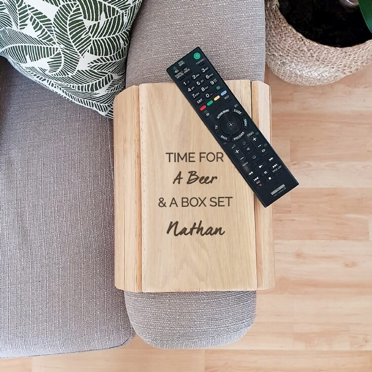 Personalised Free Text Wooden Sofa Tray
