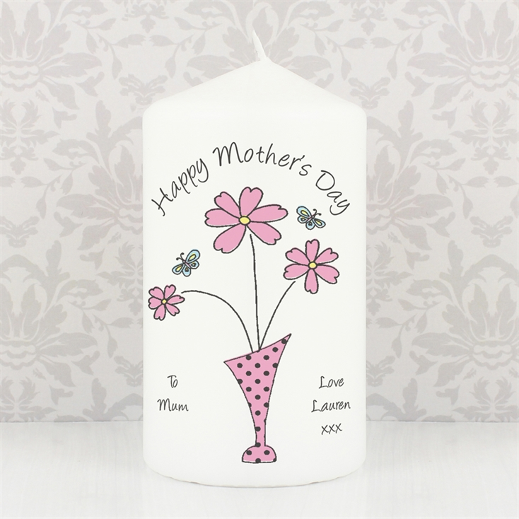 Personalised Flowers & Vase Candle