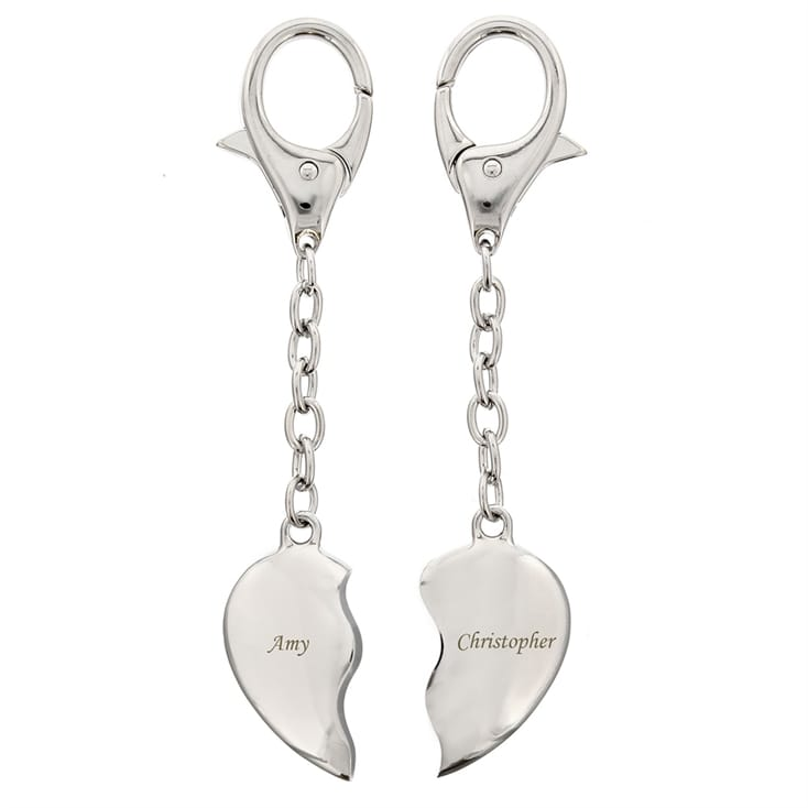 Personalised Pair of Heart Keyrings