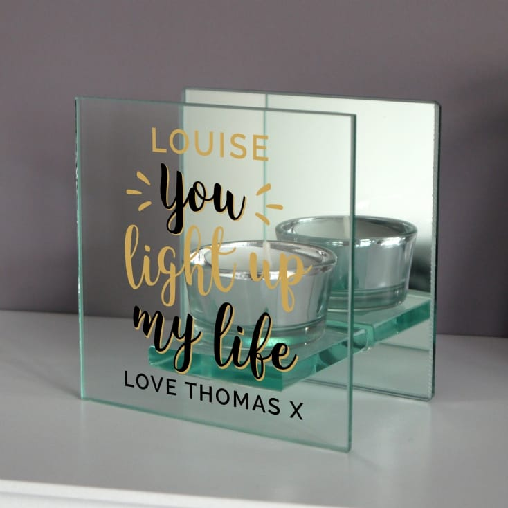Personalised You Light Up My Life Mirrored Glass Tea Light Holder