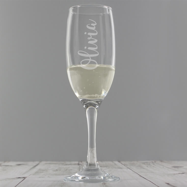 Personalised Name Engraved Flute Glass