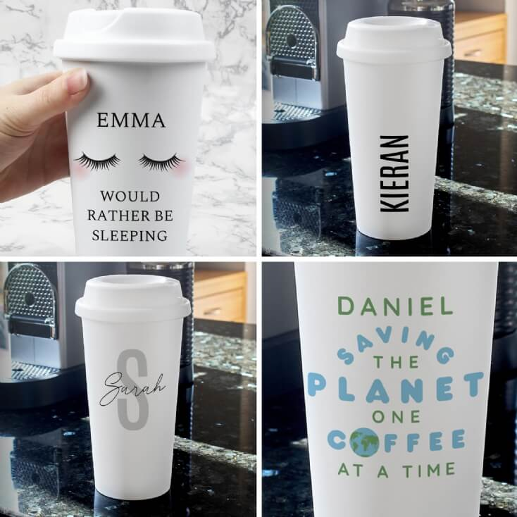 Personalised Double Walled Travel Mugs