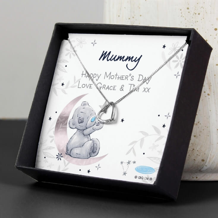 Personalised Moon & Stars Me To You Silver Necklace and Box