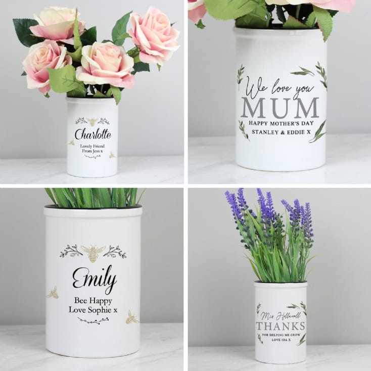 Personalised Straight Sided Ceramic Plant Pots