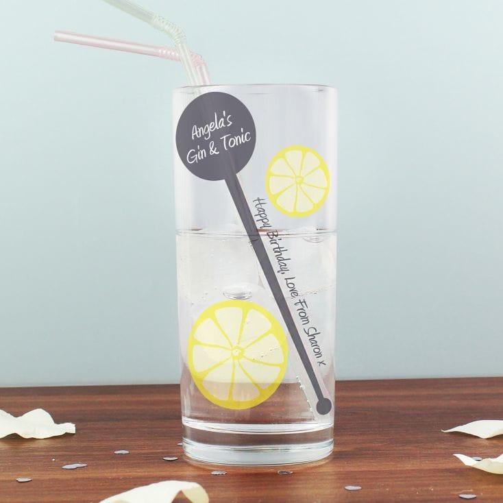 Personalised Lemon And Stirrer Hi Ball