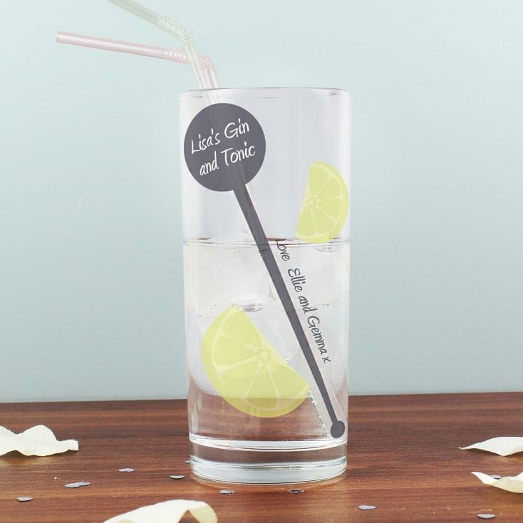 Personalised Lime And Stirrer Hi Ball