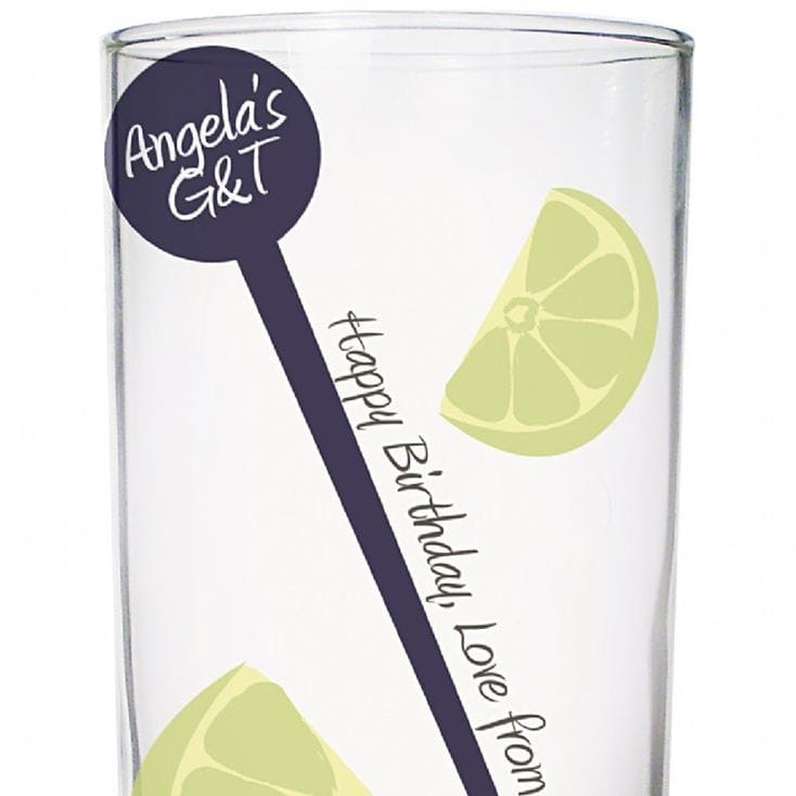 Lime Personalised Hi Ball Glass And Stirrer Set