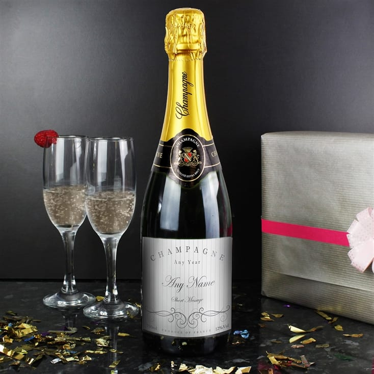 Personalised Champagne Bottle - Elegant Swirl