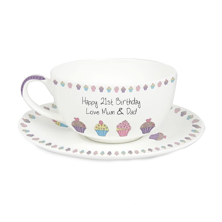 Personalised Cupcake Tea Cup And Saucer