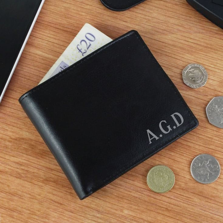 Personalised Black Leather Wallet