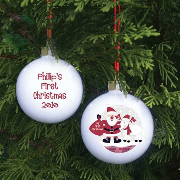 Personalised Santa And Rudolf Bauble - First Christmas