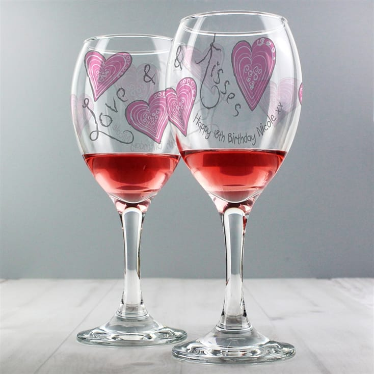Personalised Love and Kisses Wine Glass