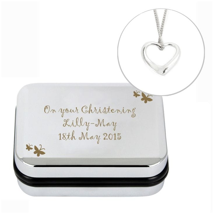 Silver Heart Necklace in Personalised Butterfly Box