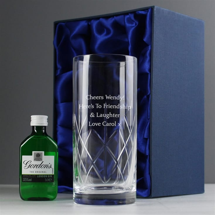 Personalised Crystal Glass & Gin Gift Set