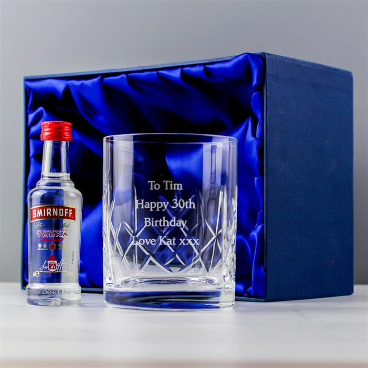 Personalised Crystal Glass & Vodka Gift Set