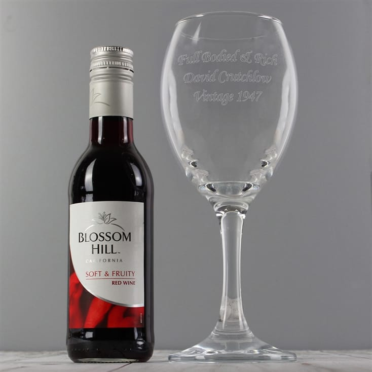 Personalised Wine Glass and Red Wine Gift Set