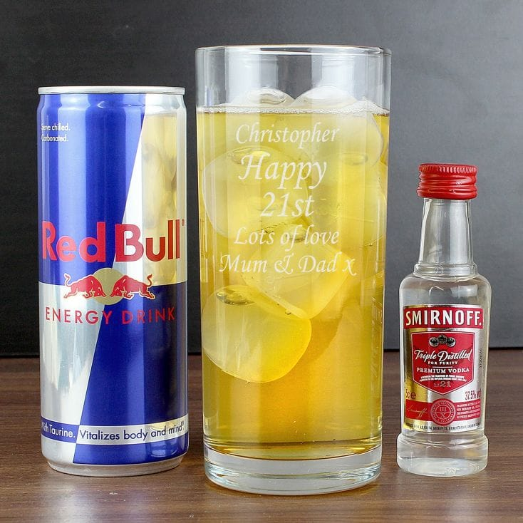 Personalised Glass, Red Bull and Vodka Gift Set