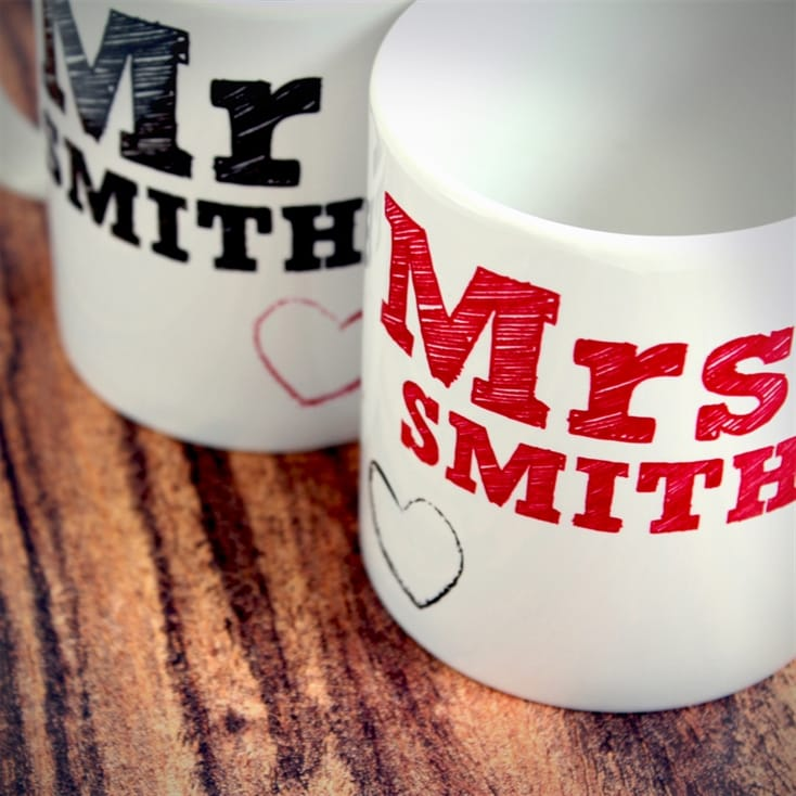 Mr and Mrs Personalised Mug Gift Set