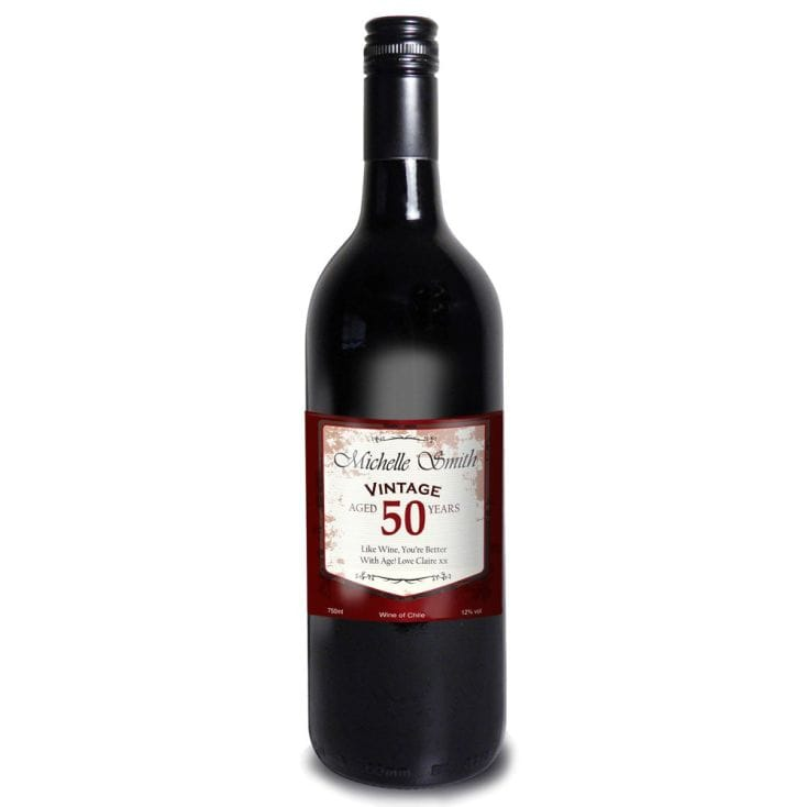 50th Birthday Personalised Red Wine - Vintage Label