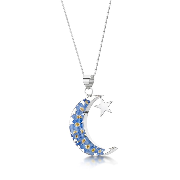 Forget Me Not Moon and Star Necklace