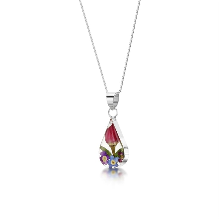 Real Flower Teardrop Pendant Necklace