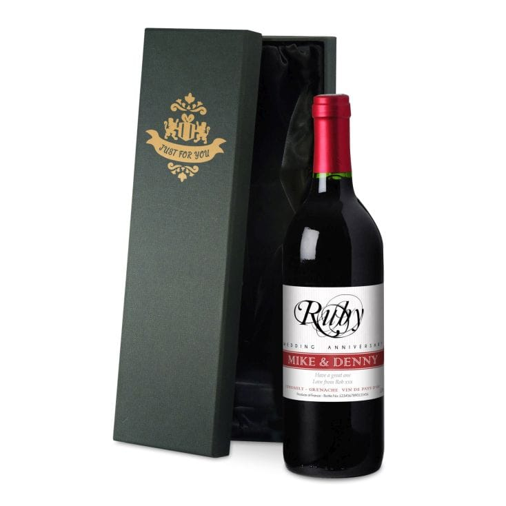 Personalised Ruby Wedding Anniversary Wine