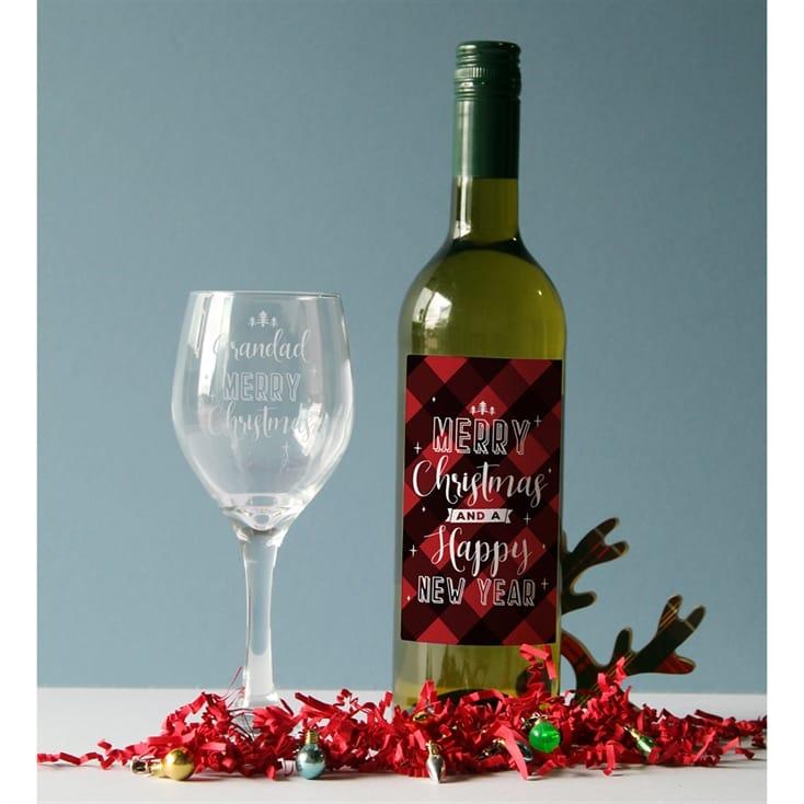 Christmas Wine.Merry Christmas Wine And Glass Set