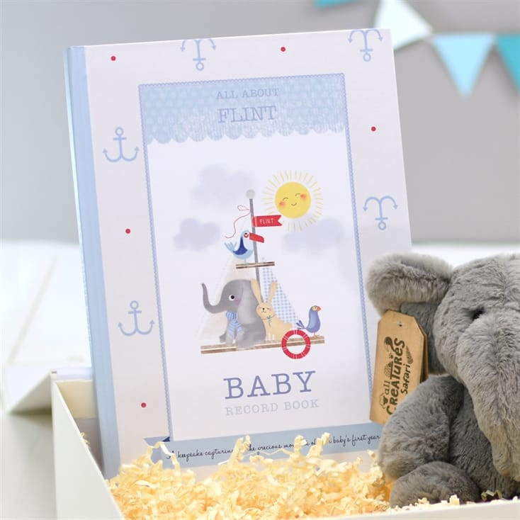 Personalised Baby Record Book & Elephant Teddy