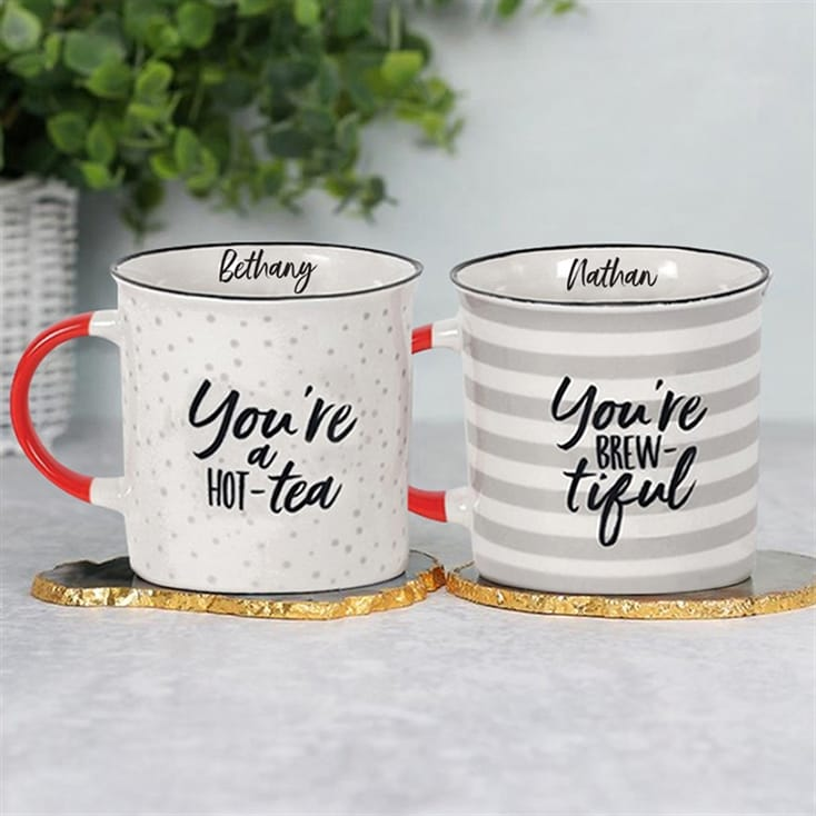 Personalised Couples Tea Themed Mug Set