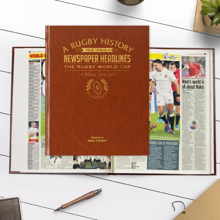 Personalised Rugby Newspaper Books - A4 Premium Hardcover