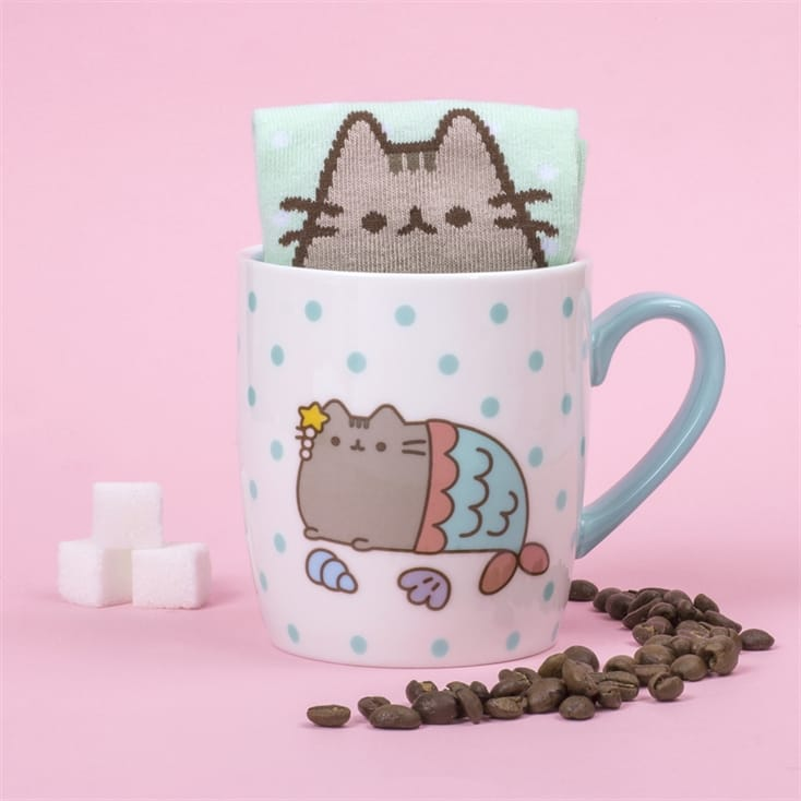 Pusheen Mermaid Socks in a Mug Set