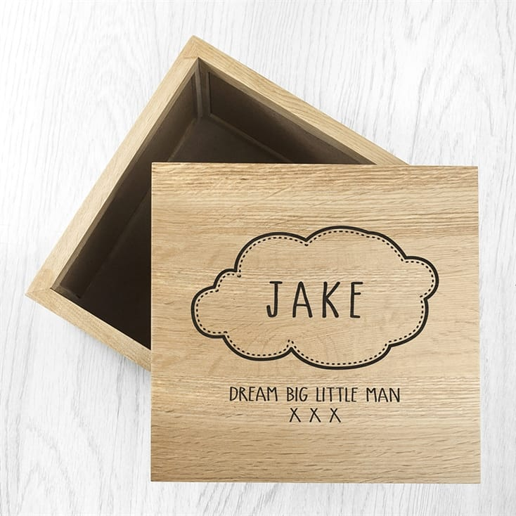 Name in Cloud Oak Photo Keepsake Box