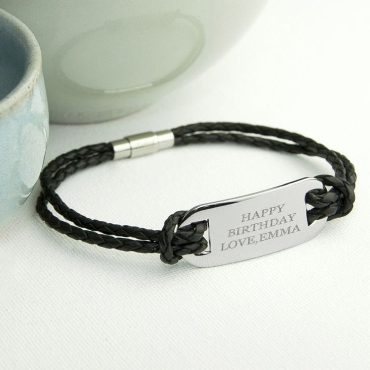 Personalised Men's Statement Leather Bracelet