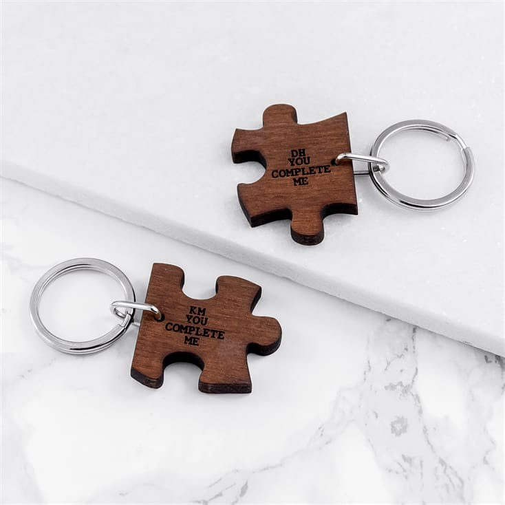 You Complete Me Couples Jigsaw Keyring