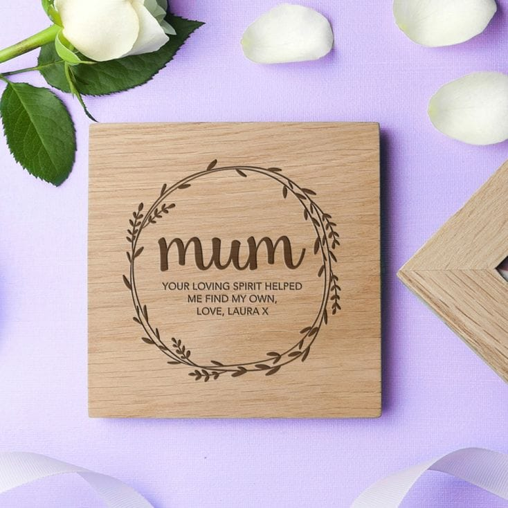 Personalised Oak Photo Cube For Mum