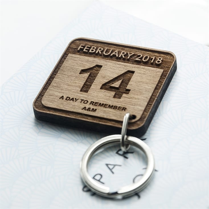Personalised An Unforgettable Day Square Keyring