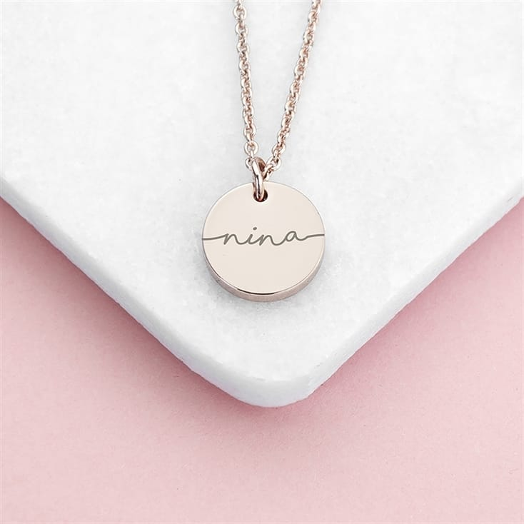 Personalised Disc Necklace with Name