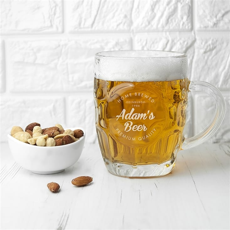 Personalised Dimpled Homebrewed Beer Glass