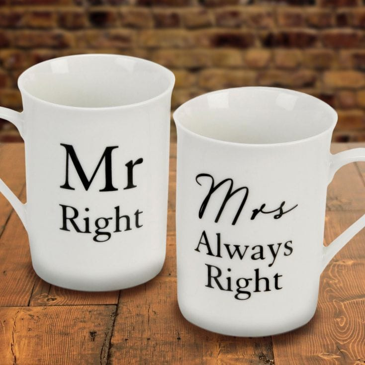 mr right mrs always right mugs find me a gift. Black Bedroom Furniture Sets. Home Design Ideas
