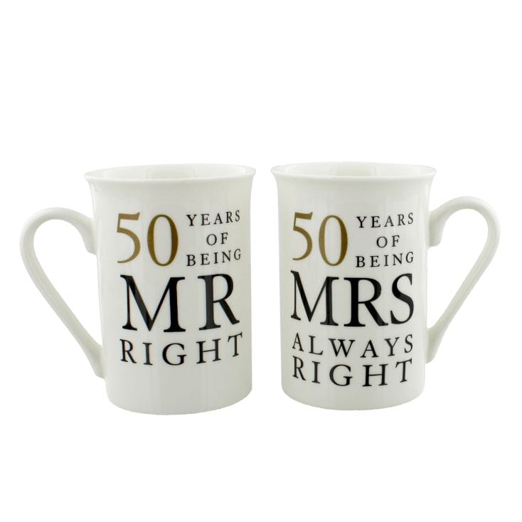 50 Years of Being Mr Right and Mrs Always Right  Mugs