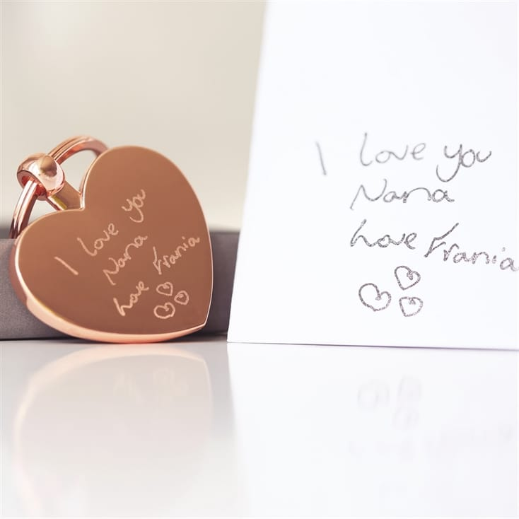 Personalised Heart Keyring with Engraved Handwriting