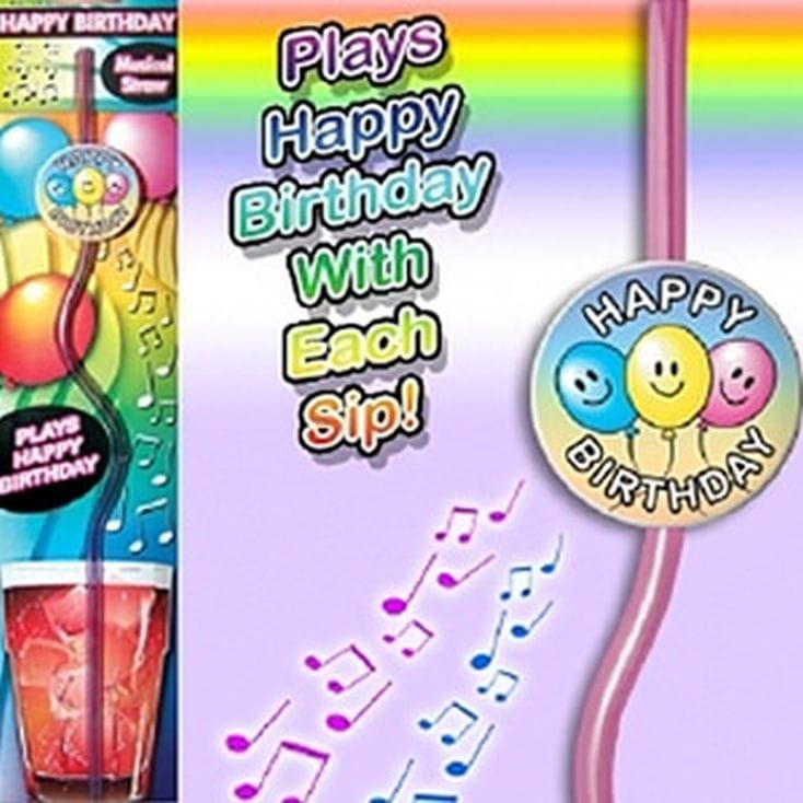Musical Happy Birthday Drinking Straw