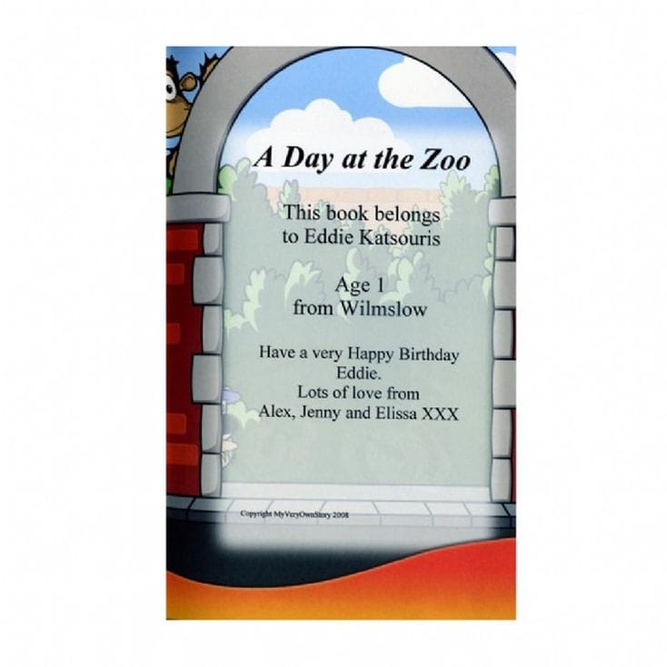 A Day At The Zoo Personalised Book
