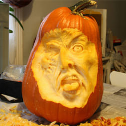 Face carved into a pumpkin