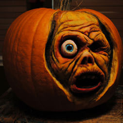 Scary face carved into a pumpkin